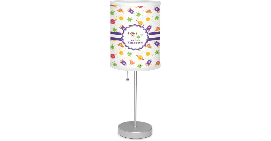 Girls Space Themed 7 Quot Drum Lamp With Shade Linen