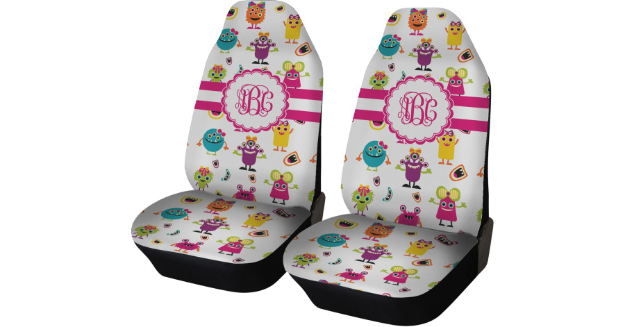 Girly Car Seat Covers: Girly Monsters Car Seat Covers (Set Of Two) (Personalized