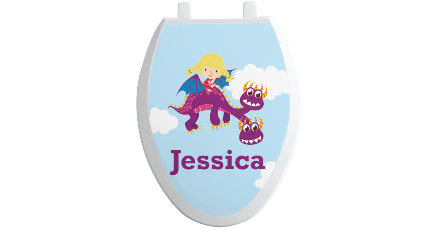 Girl Flying On A Dragon Toilet Seat Decal Elongated