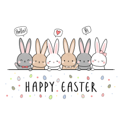 Easter Bunnies In A Line